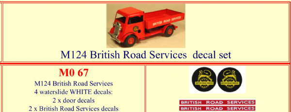 "M067 Tri-ang ( Triang ) Minic M124 "" BRITISH ROAD SERVICES "" decal set"
